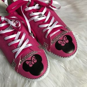 Shoes - Hand painted pink leather Minnie Mouse sneakers